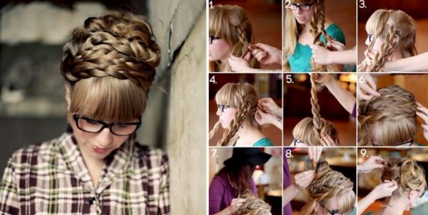 Как сделать высокую прическу из кос