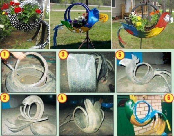Как сделать попугая из использованных шин