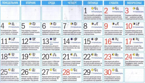 Лунный календарь посева на июнь 2018 года