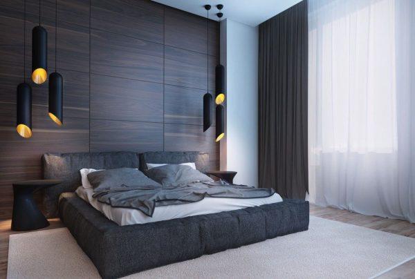 Дизайн спальни в коричнево-серых тонах