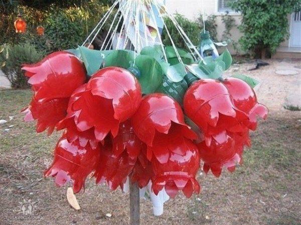 Как сделать тюльпаны из пластиковых бутылок