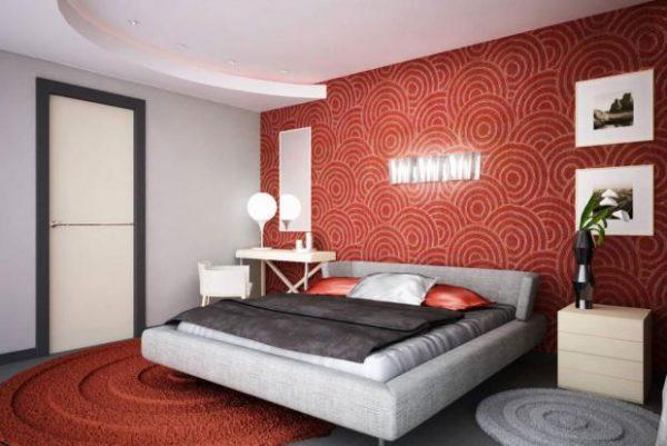 Оформление спальни в красных тонах