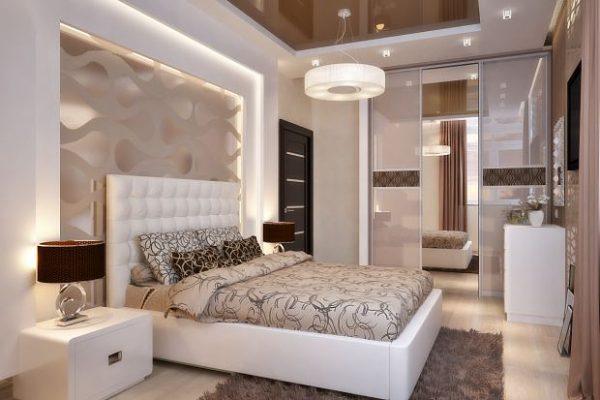 Спальня 12 кв. в коричнево-белых тонах
