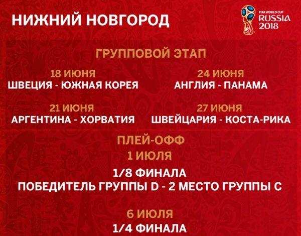 ЧМ 2018 в Нижнем Новгороде расписание матчей