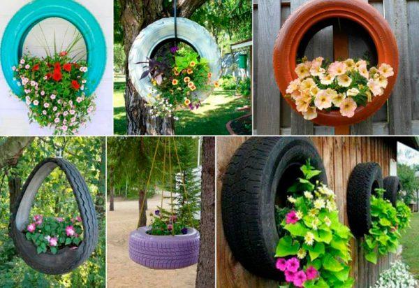 Подвесные клумбы с цветами