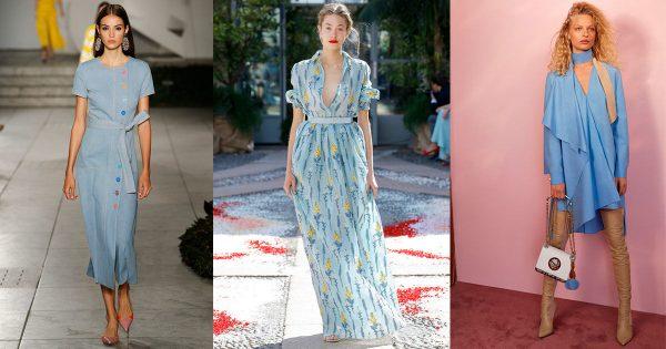 Модные платья голубых оттенков