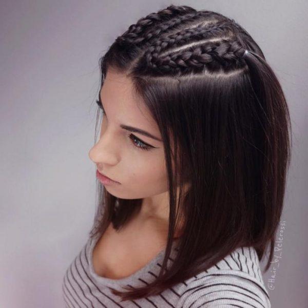 Каре с плетением волос