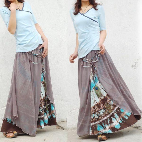 Длинная юбка с цветными вставками
