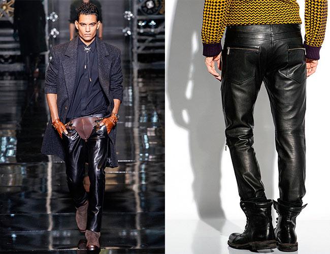 Мужские брюки из кожаного материала