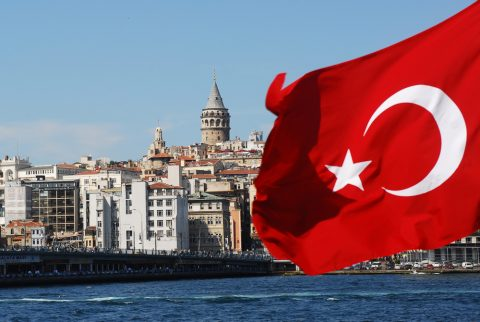 istanbul bridge from the boat with Turkey flag
