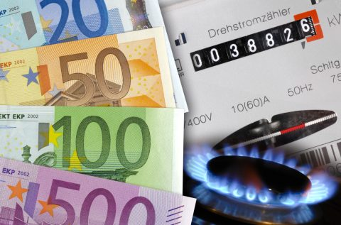 Energy counter, gas and euro money