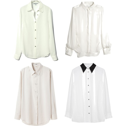 Белые блузки разного фасона