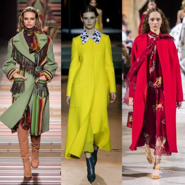 Женские пальто ярких расцветок