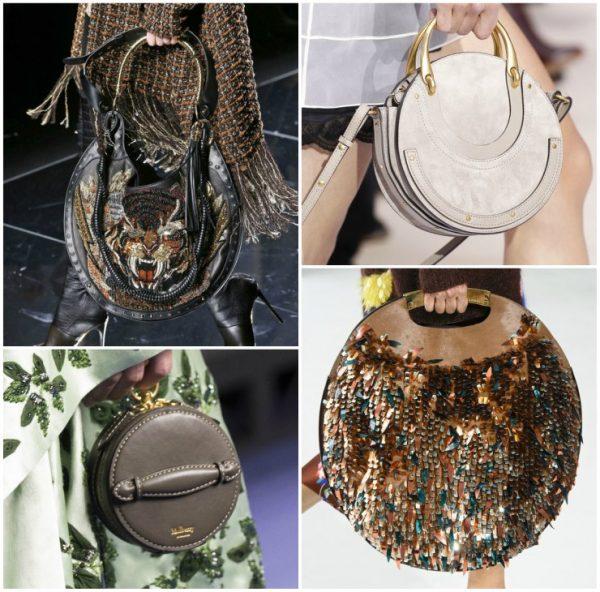 Модные круглые сумки разных фактур