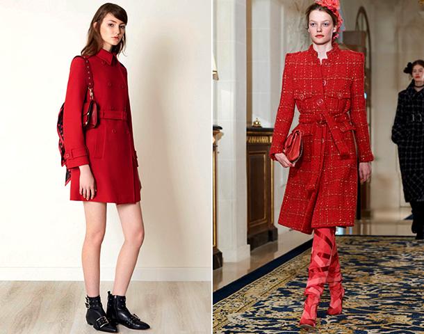 Пальто ярко-красного цвета
