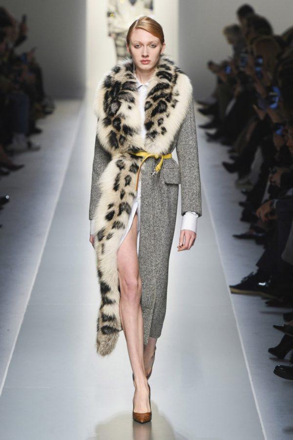 Пальто с мехом из рыси
