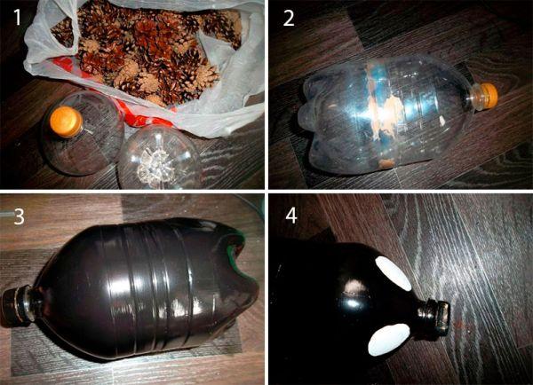2-13 Ежик из шишек и пластиковой бутылки: мастер класс (фото)