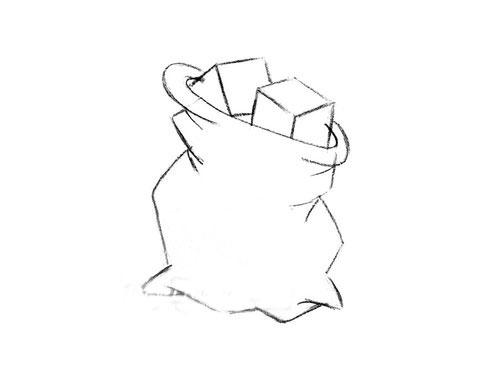 Как нарисовать мешок с подарками на Новый год 2019: поэтапно с фото