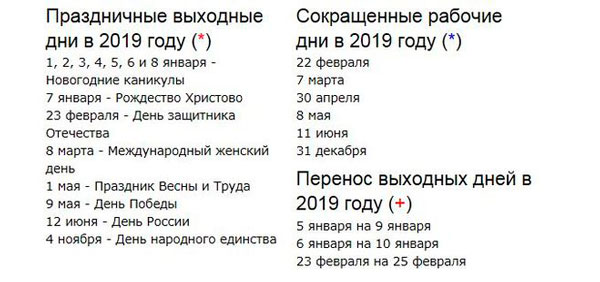 Праздничные дни в 2019 году в России