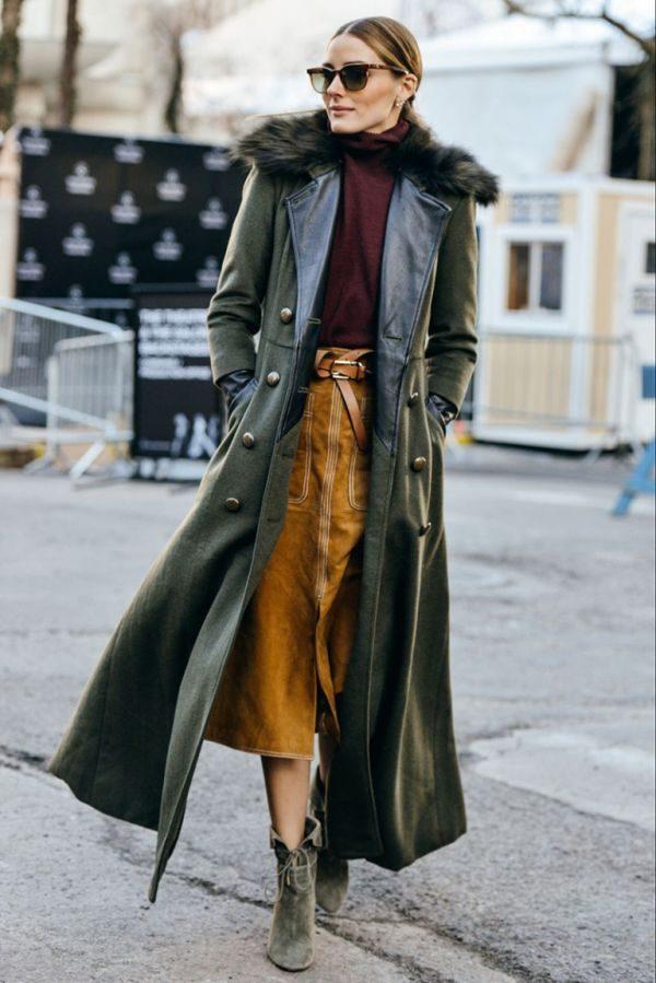 Кожаное пальто с юбкой миди