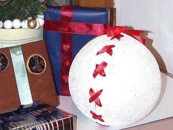 Шар-упаковка для подарков из ниток