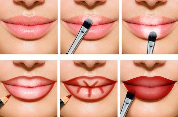 Пошаговый макияж губ