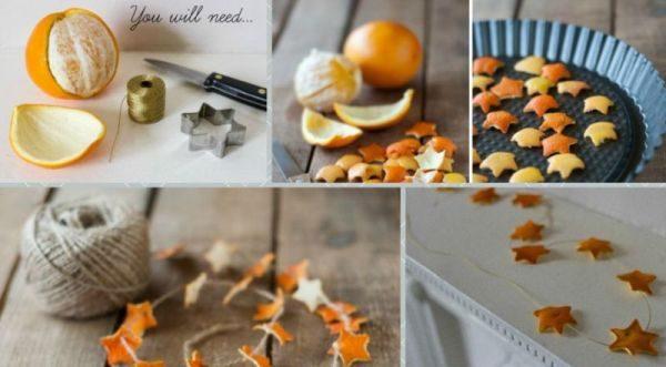 Гирлянда из корочек апельсина