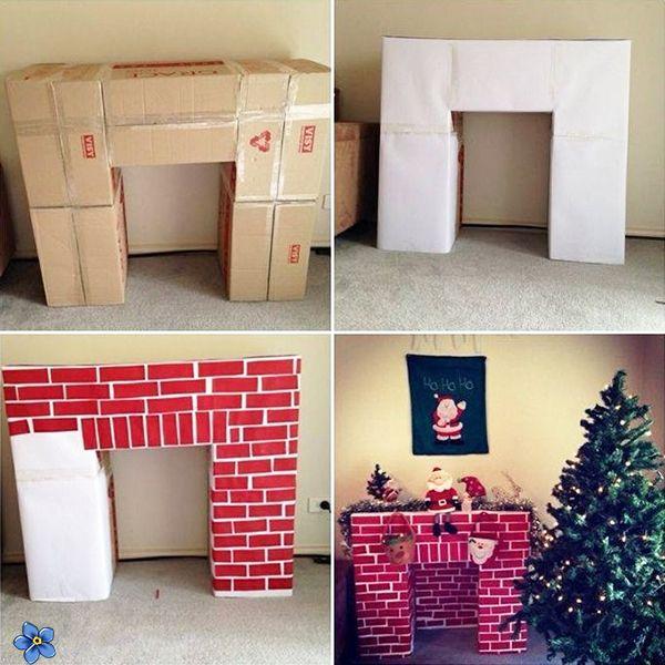 Как сделать камин из картона своими руками на Новый год 2019: пошаговая инструкция
