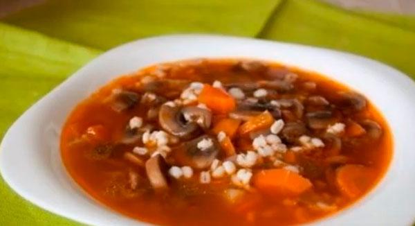Перловый суп с грибами для диабетиков