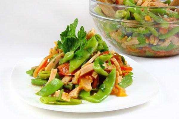 Теплый салат с индейкой и кукурузным маслом