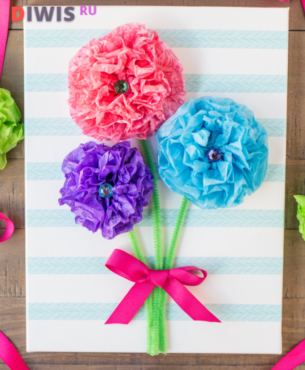 Открытка с объемными цветами в детском саду