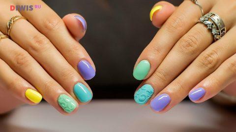 Маникюр шеллак на короткие ногти весна-лето 2019 года