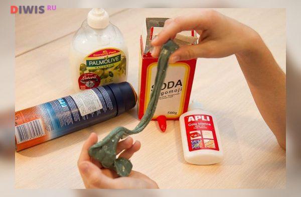 Лизун из шампуня и зубной пасты