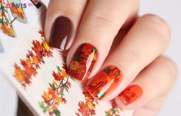 Стильный осенний маникюр 2019 года на короткие ногти