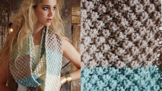 шарф снуд спицами с описанием схемы